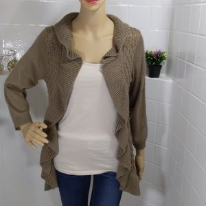 Maurices Brown Ruffles Open Cardigan Size L